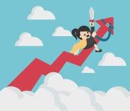 Graphique de flèche de succès d'équitation de femme d'affaires jusqu'au ciel illustration stock