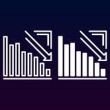 Graphique de flèche descendant la ligne et l'icône solide, contour et pictogramme de signe de vecteur, linéaire et plein rempli d Photo stock