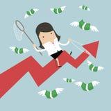 Graphique de flèche de succès d'équitation de femme d'affaires essayant d'attraper la mouche d'argent illustration de vecteur
