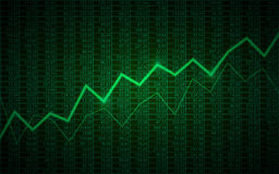 Graphique de gestion abstrait avec graphe linéaire et numéros d'article tendance à la hausse sur le fond de couleur verte Photo stock