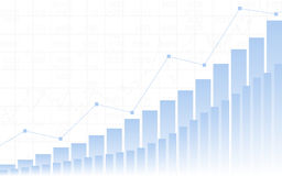 Graphique de gestion abstrait avec graphe linéaire haut tendance, histogramme et numéros d'article sur le fond blanc de couleur Images stock