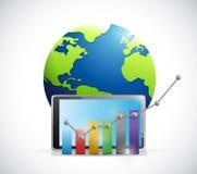 Graphique de gestion au-dessus d'un comprimé et d'un globe. Photo stock