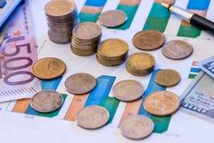 Graphique de gestion avec l'euro et le dollar, Photo libre de droits