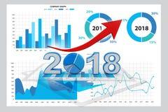 Graphique de gestion avec la flèche haute et 2018, succès 2018 d'année commerciale illustration libre de droits