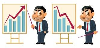 Graphique de gestion Croissance ou chute Homme d'affaires drôle faisant un prese Image stock