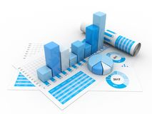 graphique de gestion du rendu 3d et documents, concept de marché boursier illustration libre de droits