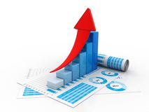 graphique de gestion du rendu 3d et documents, concept de marché boursier illustration stock