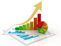 graphique de gestion du rendu 3d et documents, concept de marché boursier, concept en ligne de marché boursier illustration libre de droits