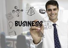 Graphique de gestion Hommes d'affaires l'écrivant dans le bureau illustration de vecteur