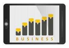 Graphique de gestion sur l'écran de comprimé Photo libre de droits