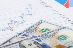 Graphique de marché boursier avec 100 dollars de billet de banque Image libre de droits