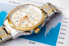 Graphique de marché boursier et montre-bracelet de luxe photos stock
