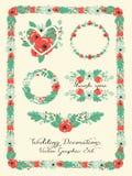 Graphique de mariage réglé : cadres, guirlande et fleurs Photos libres de droits