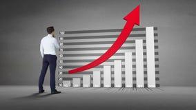 Graphique de observation de progrès d'homme d'affaires avec la flèche banque de vidéos