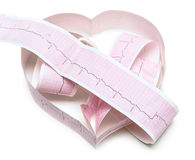 Graphique de papier d'ECG dans la forme du coeur Photographie stock