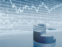 Graphique de secteur avec des données du marché Images stock