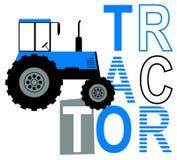 Graphique de slogan avec l'illustration de tracteur de vecteur pour le graphique de T-shirt de garçons et de bébés illustration stock