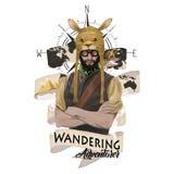 Graphique de vecteur - aventurier australien avec le chapeau drôle de kangourou image stock