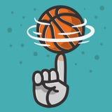Graphique de vecteur de rotation d'illustration d'équilibre de doigt de main de boule de basket-ball illustration stock