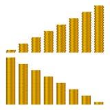 Graphique des piles d'or de pièces de monnaie d'isolement sur le blanc illustration stock