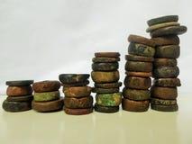 Graphique en pierre antique de pièces de monnaie photos libres de droits