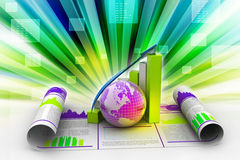 Graphique et globe de croissance d'affaires Images libres de droits