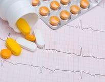 Graphique et pilules d'électrocardiogramme Images stock