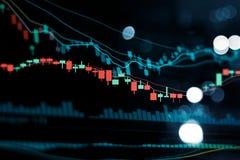 Graphique financier de commerce d'investissement de marché boursier Tendance de graphique de bâton de bougie sur la technologie photo stock