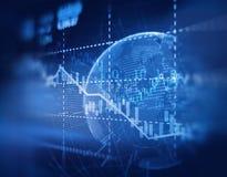Graphique financier technique sur le fond d'abrégé sur technologie Image libre de droits