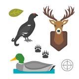 Graphique mammifère principal sauvage de cerfs communs et d'oiseau de canard de silhouette de renne de faune d'andouiller et sign Photographie stock libre de droits