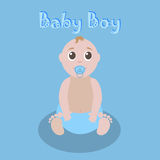 Graphique mignon pour le bébé garçon Carte de voeux nouveau-née de bébé garçon belle Calibre d'invitation de fête de naissance Ve Photos stock