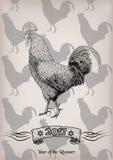 Graphique rouge c du symbole 2017 de nouvelle année de jeune coq de poulet de coq de coq illustration de vecteur