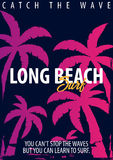 Graphique surfant de Long Beach avec des paumes Conception et copie de T-shirt Photo libre de droits