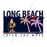 Graphique surfant de Long Beach avec des paumes Conception et copie de T-shirt Illustration Libre de Droits