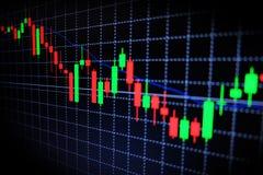 Graphique vert et rouge de marché boursier avec le fond noir, marché de forex, commerçant Images stock