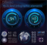 Graphique virtuel bleu futuriste de futur hud abstrait Affichage à lecture tête haute illustration de vecteur