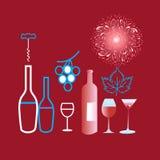 Graphiques d'affiche de différents vin et verres illustration de vecteur