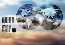 Graphiques de carte et d'information du monde Photographie stock libre de droits