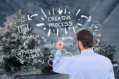 Graphiques de dessin d'homme d'affaires sur la route image stock