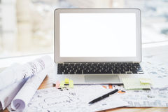 Graphiques de gestion blancs d'ordinateur portable Images stock