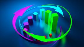 Graphiques de gestion et indicateurs de devise Images libres de droits