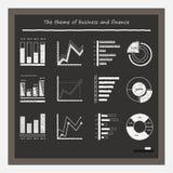 Graphiques de gestion sur le tableau noir avec la craie Photographie stock