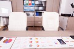 Graphiques de gestion sur une table dans le local commercial Photos stock