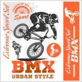 Graphiques de T-shirt de BMX Style extrême de rue de vélo - dirigez le cyclyst de BMX illustration libre de droits