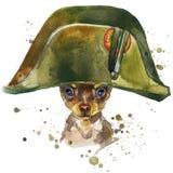 Graphiques de T-shirt de chien de terrier de jouet l'illustration de chien de terrier de jouet avec l'aquarelle d'éclaboussure a  Image libre de droits