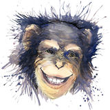 Graphiques de T-shirt de chimpanzé de singe illustration de chimpanzé avec le fond texturisé d'aquarelle d'éclaboussure l'eau peu illustration de vecteur