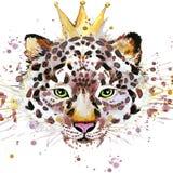 Graphiques de T-shirt de léopard Illustration de léopard avec le fond texturisé d'aquarelle d'éclaboussure aquarelle peu commune  illustration stock