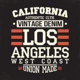 Graphiques de T-shirt de la Californie Los Angeles Typographie de denim de vintage, graphiques de T-shirt, affiche, bannière, tex Photo libre de droits