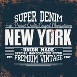 Graphiques de T-shirt de New York Typographie de denim de vintage Photos stock
