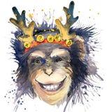 Graphiques de T-shirt de nouvelle année de singe monkey l'illustration d'année avec le fond texturisé par aquarelle d'éclaboussur Photo libre de droits